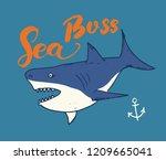 cute shark hand drawn sketch  t ... | Shutterstock .eps vector #1209665041