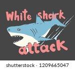 cute shark hand drawn sketch  t ... | Shutterstock .eps vector #1209665047