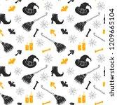 halloween seamless pattern.... | Shutterstock .eps vector #1209665104