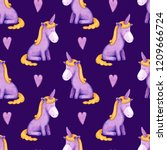 Violet unicorns and hearts watercolor seamless pattern on dark background. Funny design perfect for print fabric textile, baby print or wrapping paper design