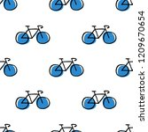 bicycle seamless doodle pattern | Shutterstock .eps vector #1209670654