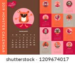 new 2019 calendar illustrated... | Shutterstock .eps vector #1209674017