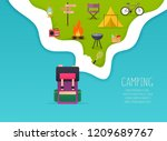 camping and outdoor recreation... | Shutterstock .eps vector #1209689767