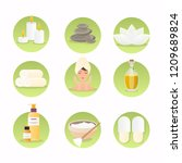 spa and wellness icon set.... | Shutterstock .eps vector #1209689824
