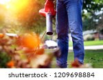man working with  leaf blower ... | Shutterstock . vector #1209698884