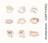 various kinds of tea. hand... | Shutterstock .eps vector #1209714961