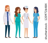 group of doctors with nurse | Shutterstock .eps vector #1209726484