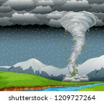 cyclone in the nature... | Shutterstock .eps vector #1209727264