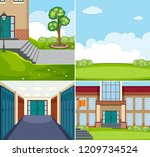 set of school scene illustration | Shutterstock .eps vector #1209734524
