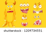 a yellow monster with facial... | Shutterstock .eps vector #1209734551
