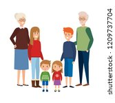 grandparents couple with kids | Shutterstock .eps vector #1209737704