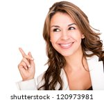 Happy Business Woman Pointing...