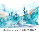 Watercolor Mountains....
