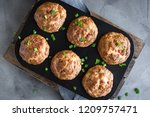 protein breakfast egg muffins...   Shutterstock . vector #1209757471