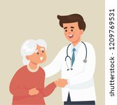 young doctor take care of old... | Shutterstock .eps vector #1209769531
