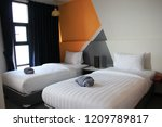 a modern hotel is now available ... | Shutterstock . vector #1209789817