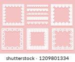 set of white lace framework of... | Shutterstock .eps vector #1209801334
