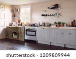 modern country style kitchen... | Shutterstock . vector #1209809944