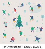 winter outdoor activities.... | Shutterstock .eps vector #1209816211