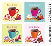 cups with tea and sweets. set... | Shutterstock .eps vector #1209821371