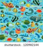Blue Sea Pattern With Colorful...