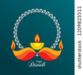 poster for happy diwali with... | Shutterstock .eps vector #1209825511