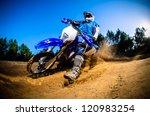 Enduro Bike Rider On Action....