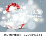 opened white gift box with red... | Shutterstock .eps vector #1209841861