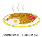 i cook fried noodles with iron... | Shutterstock .eps vector #1209845461