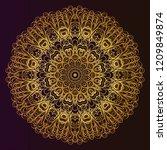 beautiful round flower mandala. ... | Shutterstock .eps vector #1209849874