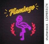 flamingo animal silhouette neon ... | Shutterstock .eps vector #1209853174