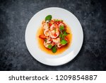spicy salad with shrimp and... | Shutterstock . vector #1209854887