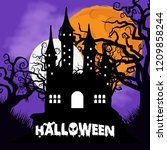 happy halloween with creative... | Shutterstock .eps vector #1209858244