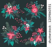 set of colorful christmas... | Shutterstock .eps vector #1209860551