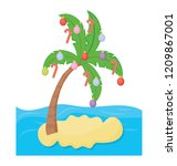 palm tree decorated with... | Shutterstock .eps vector #1209867001