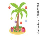 christmas palm tree icon with... | Shutterstock .eps vector #1209867004