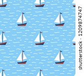 nautical seamless patterns ... | Shutterstock .eps vector #1209874747