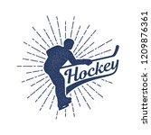 hockey logo in retro vintage... | Shutterstock .eps vector #1209876361