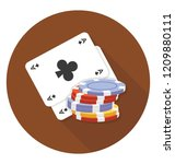spade card and chip depicting... | Shutterstock .eps vector #1209880111
