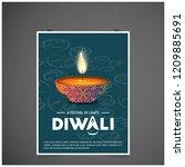 happy diwali creative design...   Shutterstock .eps vector #1209885691