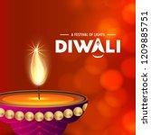 happy diwali creative design...   Shutterstock .eps vector #1209885751