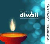 diwali design blue background...   Shutterstock .eps vector #1209885757