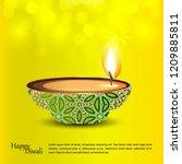 diwali design with green...   Shutterstock .eps vector #1209885811