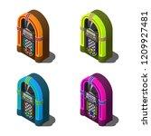 set of isometric retro jukebox... | Shutterstock .eps vector #1209927481
