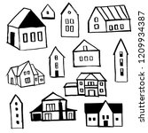 hand drawn houses. vector... | Shutterstock .eps vector #1209934387