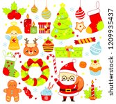 christmas stickers  icons. cute ... | Shutterstock .eps vector #1209935437