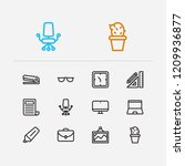 workplace icons set. case and...