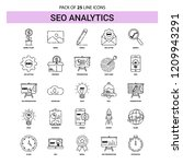 seo analytics line icon set  ... | Shutterstock .eps vector #1209943291