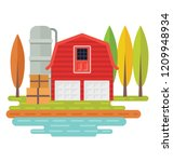 house  farmland and trees... | Shutterstock .eps vector #1209948934