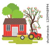house  farmland and trees... | Shutterstock .eps vector #1209948994